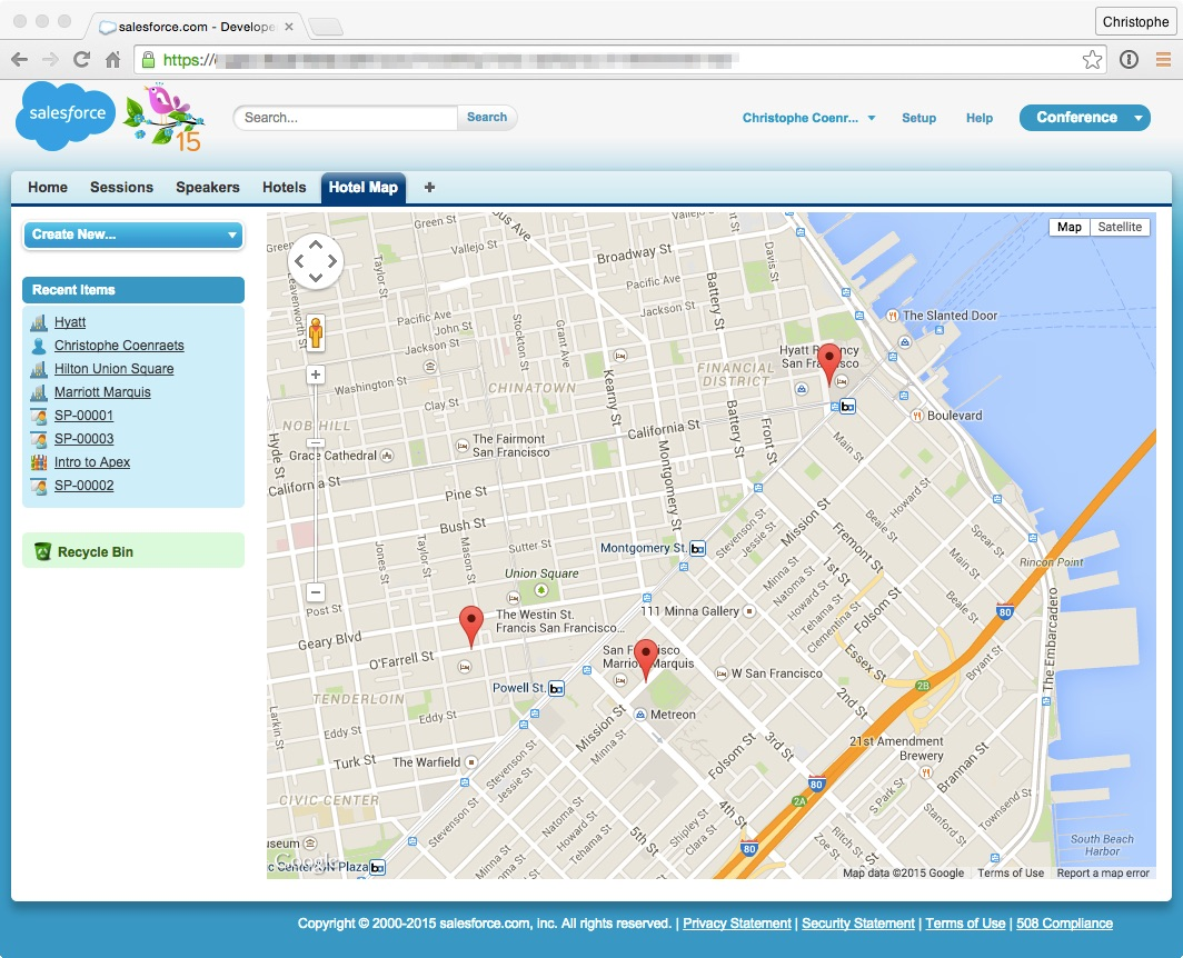 Salesforce developer workshop you create a visualforce page that invokes that method using javascript remoting and uses the google maps sdk to display the hotels on a map gumiabroncs Images